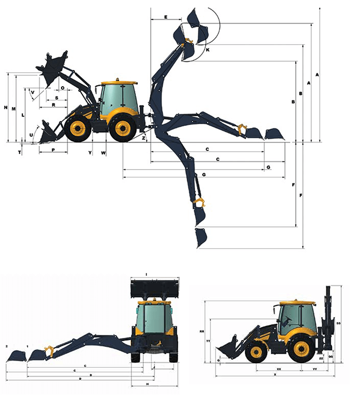 mst m542 backhoe loader dimentions