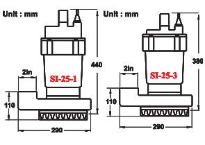 نقشه ابعاد پمپ لجن کش SI-25-1